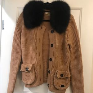 Burberry light brown knit jacket size M
